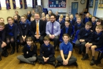 Karl with Mr O'Mahoney and his Year 6 class